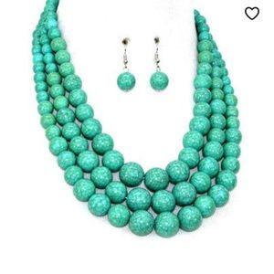 Turquoise beaded 3 strand necklace set